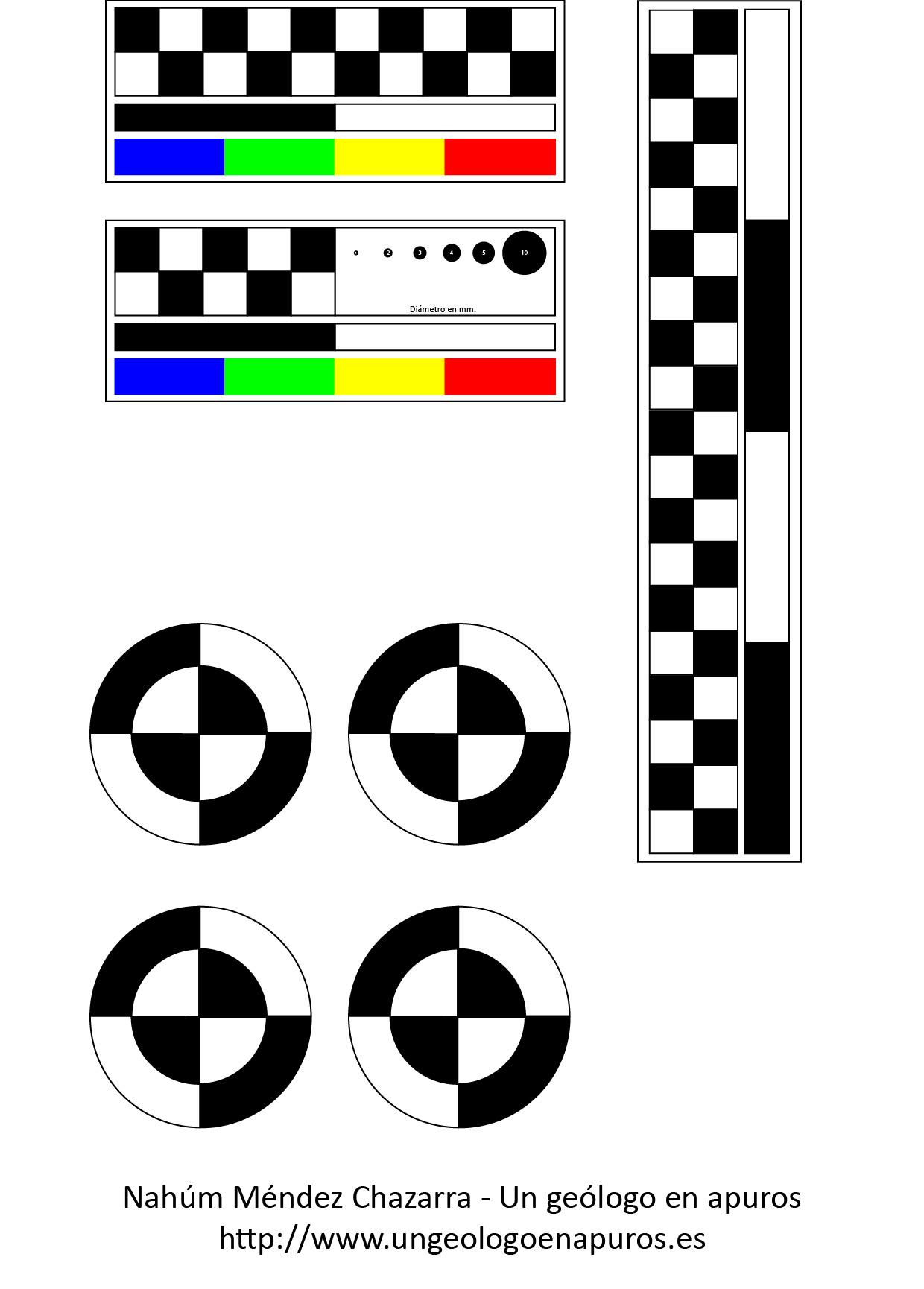 Imagen de las distintas escalas que hemos confeccionado para su uso en el campo.