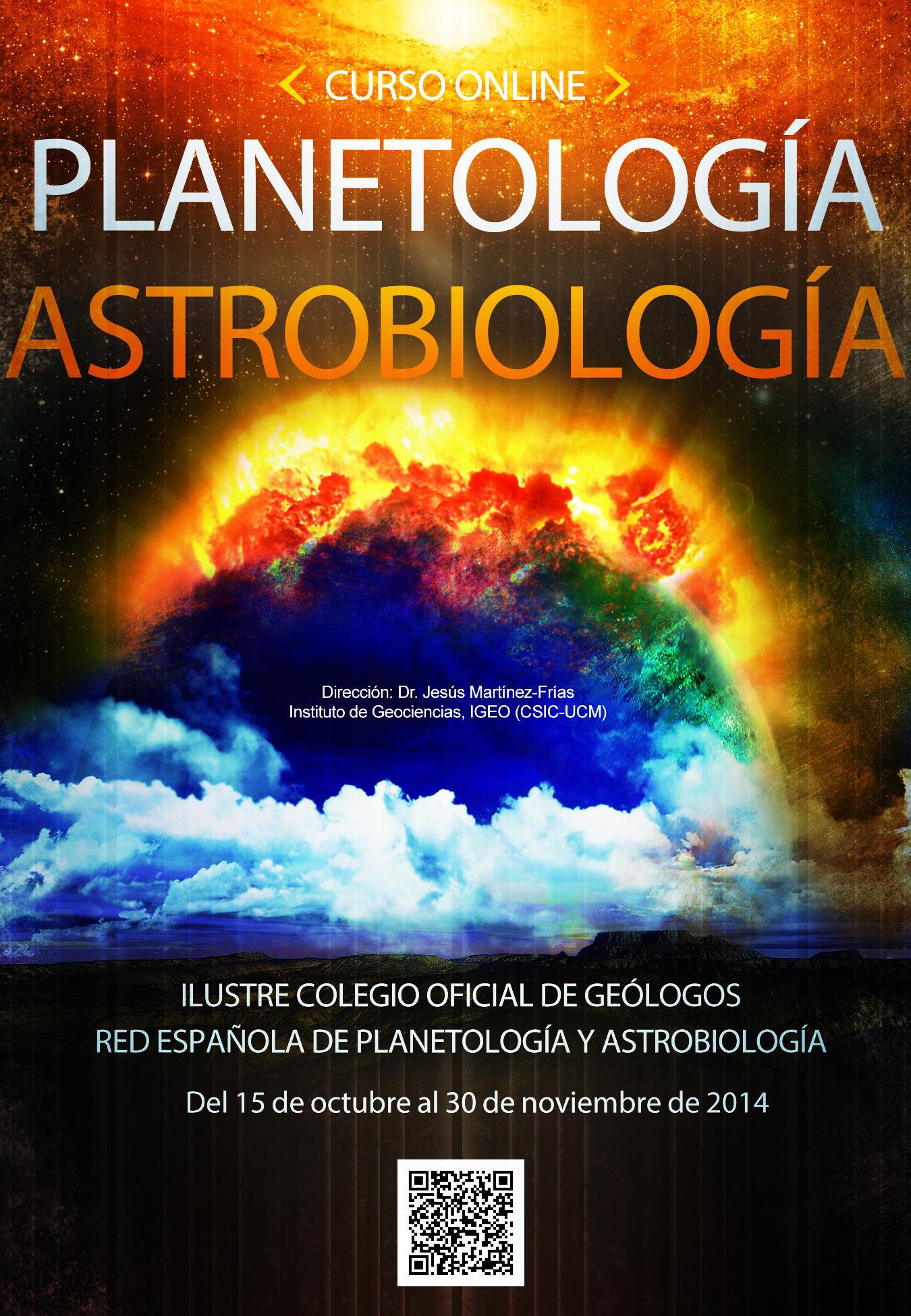 Cartel del I Curso online de Planetología y Astrobiología