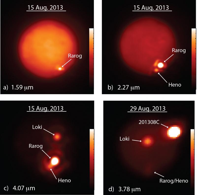 Imágenes infrarrojas de Ío tomadas el mes de Agosto del pasado año donde se observan las erupciones en un color mucho más claro que el resto de la superficie. IMKE DE PATER AND KATHERINE DE KLEER, UC BERKELEY.