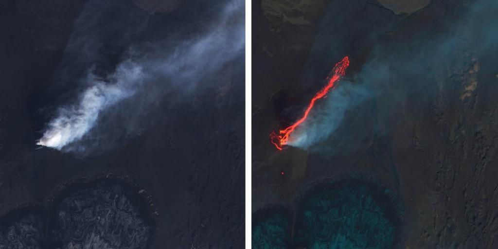 Ampliación de la zona de la fisura eruptiva y la colada de lava. NASA.