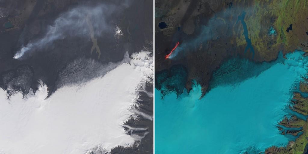 La erupción fisural de Holuhraun desde el Landsat 8 el pasado día 6 de Septiembre. NASA.
