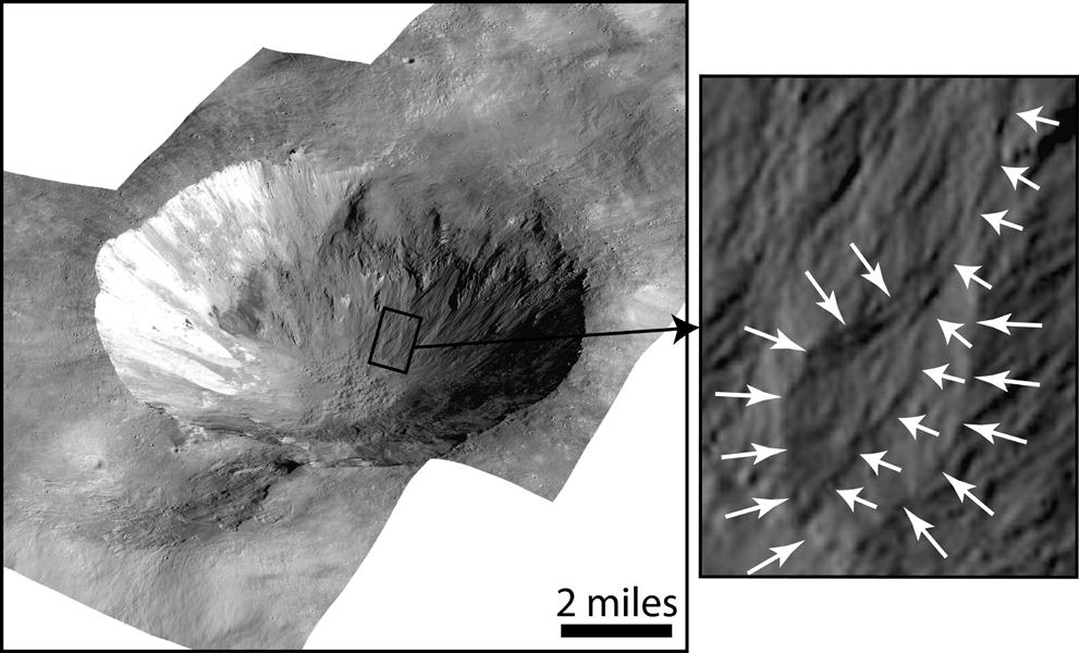 En la imagen se puede ver el cráter Cornelia, que tiene entre 4 y 5 millones de años. A la derecha se ven los barancos con los bordes curvados y el depósito con forma de abanico. NASA/JPL-Caltech/UCLA/MPS/DLR/IDA.