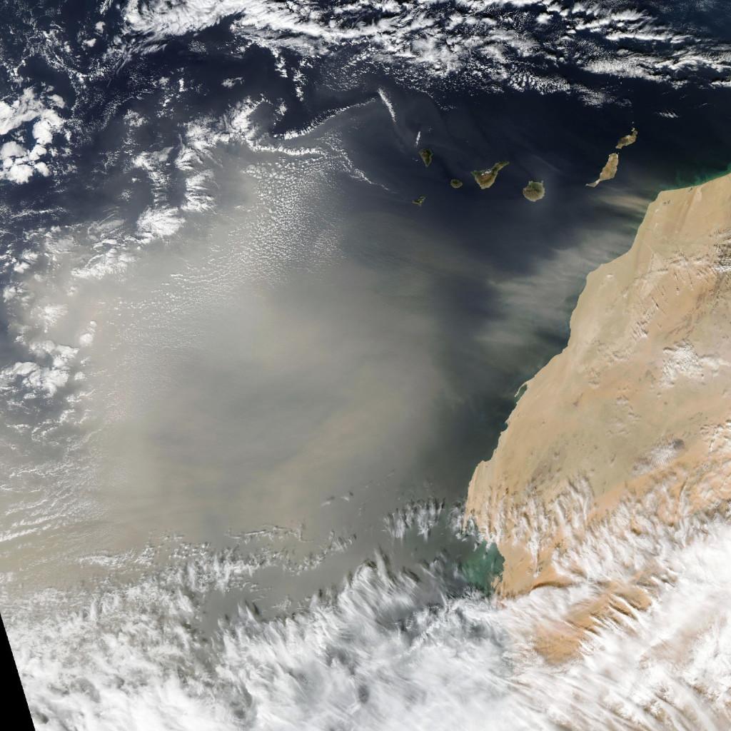 Advección de polvo frente a las costas Africanas vista hoy desde el satélite Aqua. NASA.