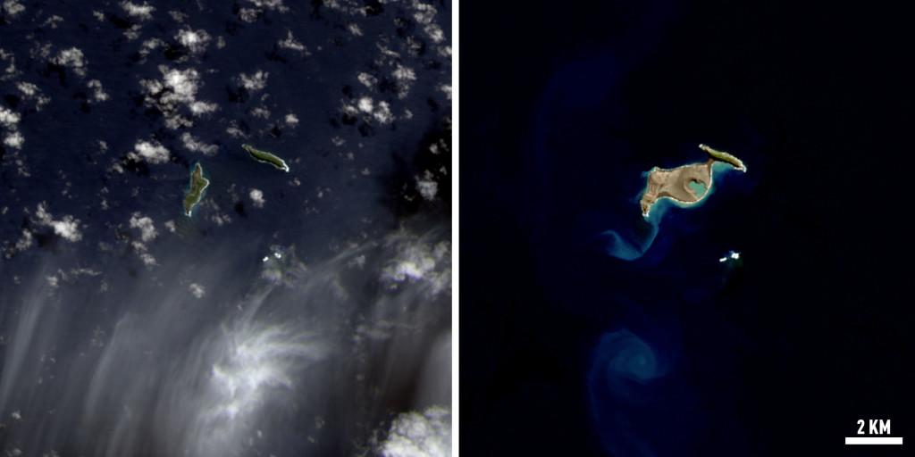 Entre estas dos imagenes hay  8 meses de diferencia, puesto que la primera, a la izquierda, fue tomada el pasado 31 de Agosto de 2014 y la segunda el pasado 28 de Abril.  NASA/Landsat.