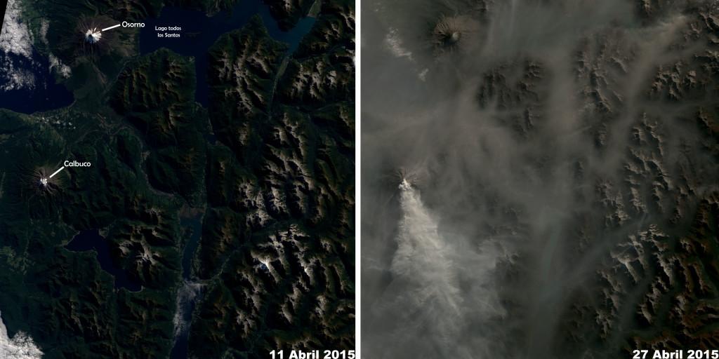 Un recorte de las imagenes anteriores antes y después. NASA.