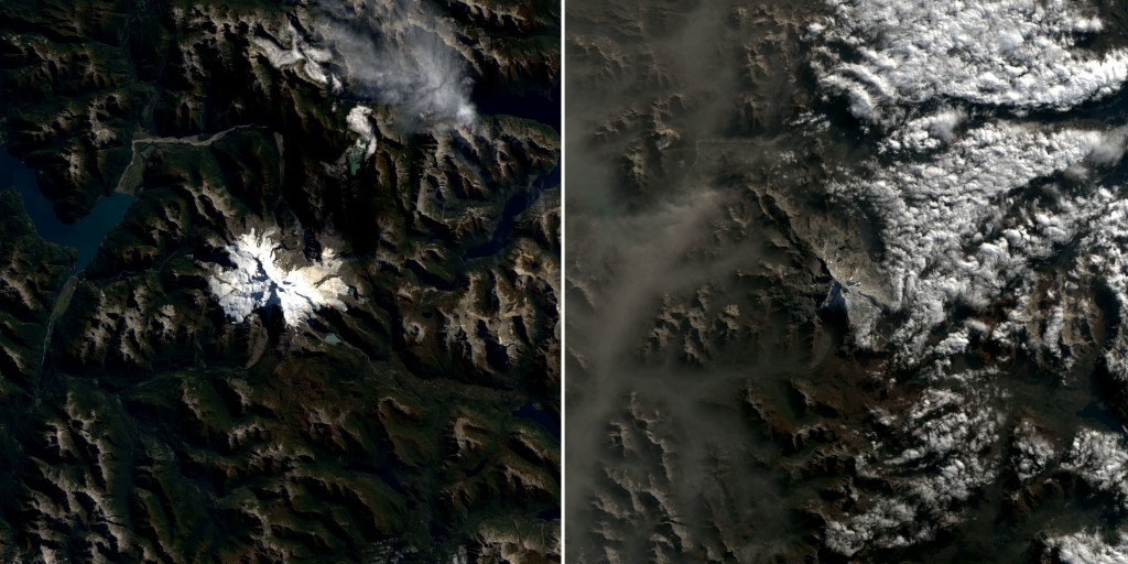 Antes y después en el cerro Tronador: NASA.