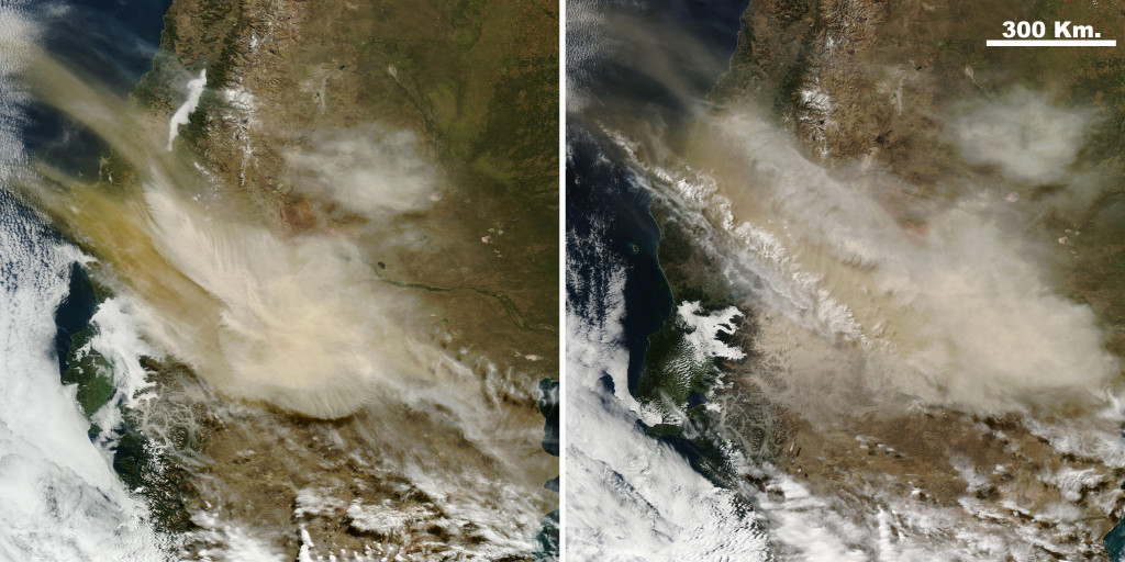Dos imágenes, a la izquierda, tomada por el Terra, y a la derecha, la del Aqua, tomadas el pasado día 23 de Abril tomadas con 3 horas de diferencia. Se aprecia perfectamente la extensión de la columna de cenizas, que llego a tener una extensión máxima cercana a los 1000 kilómetros.  NASA.