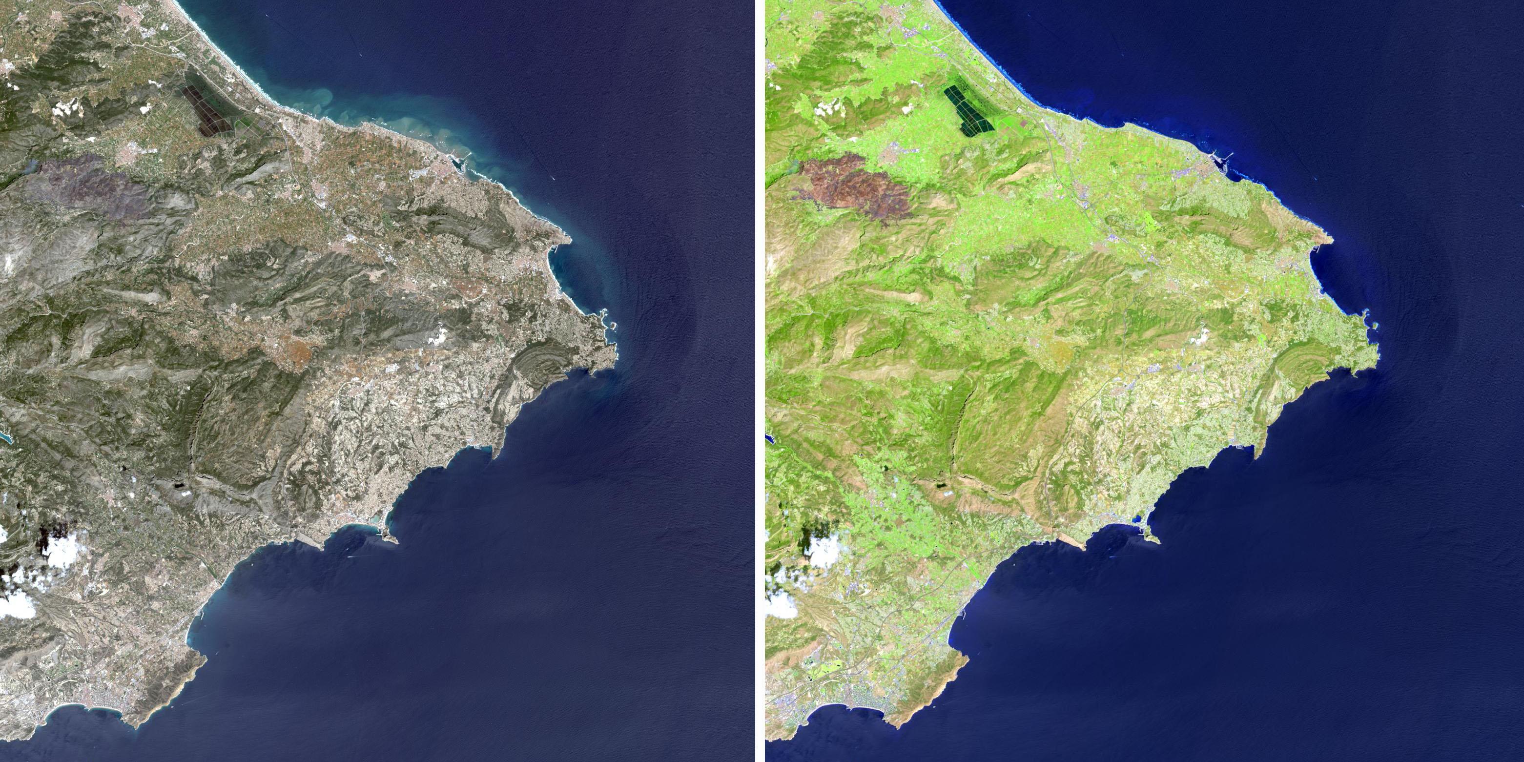 ¿A que ahora ves mejor las diferencias? Landsat/NASA.