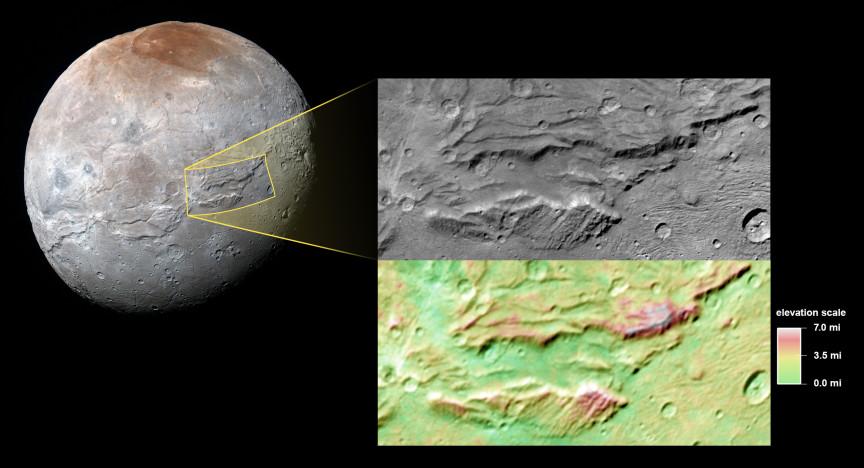 Caronte, fotografiada por la New Horizons el pasado 14 de Julio. A la derecha, en la ampliación, se puede ver Serenity Chasma, en imagen de luz visible, y en mapa de elevaciones. NASA/JHUAPL/SwRI.