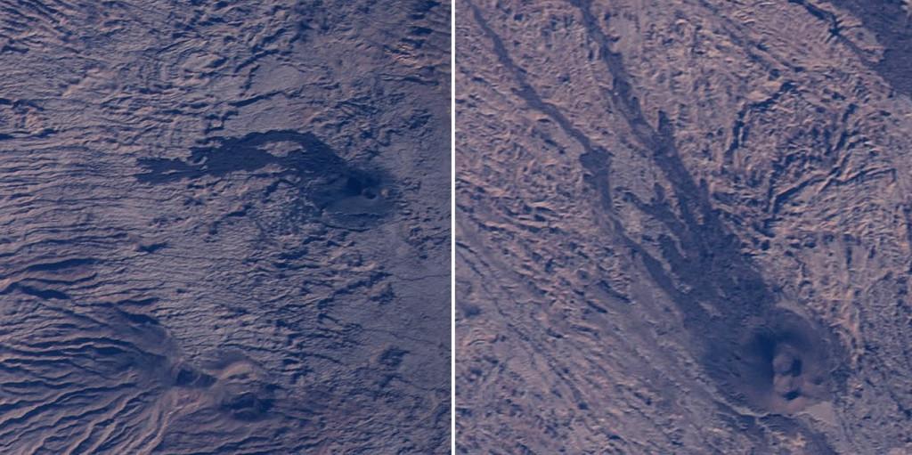 En varias zonas de la imagen se pueden apreciar conos de escoria con coladas de lava. NASA.