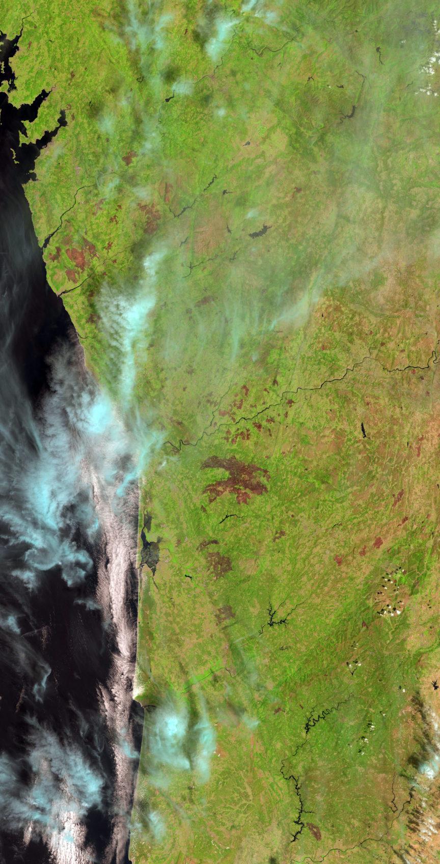 Portugal, visto desde el Landsat 8 el pasado 31 de Agosto. Landsat/USGS/NASA.