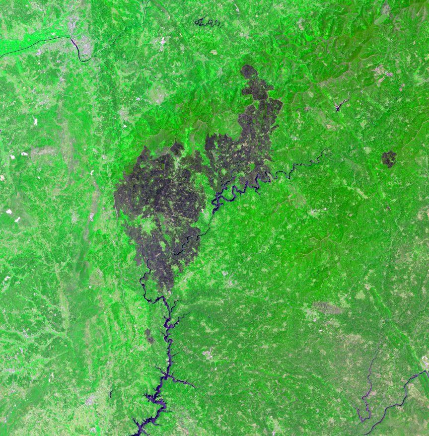 El incendio de Pedrógão Grande desde el Landsat 8, el pasado 1 de julio de 2017. NASA/USGS