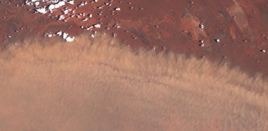 Una vista de la tormenta de polvo, tomada ayer día 11 por el satélite Sentinel 2 del Programa Copernicus de la ESA. ESA
