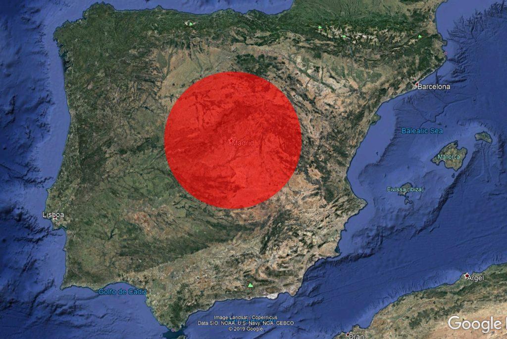 El círculo rojo superpuesto a la península Ibérica corresponde con la superficie quemada en los incendios de Australia hasta el momento. NASA/Google.