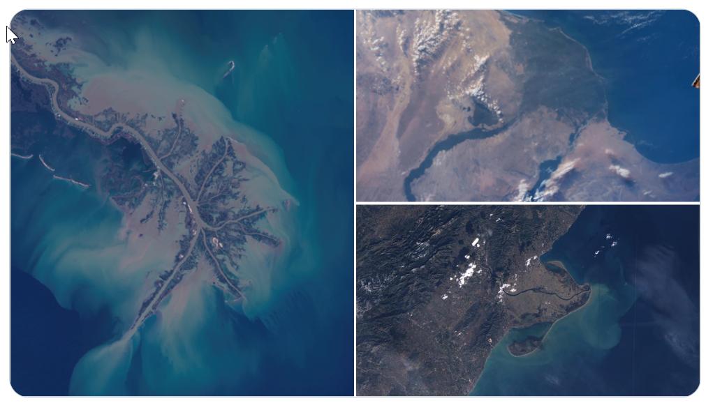 Imágenes de tres deltas terrestres, el del Mississippi, el Nilo y el Ebro fotografiados desde el Landsat 8, la ISS y el Sentinel 2, respectivamente.