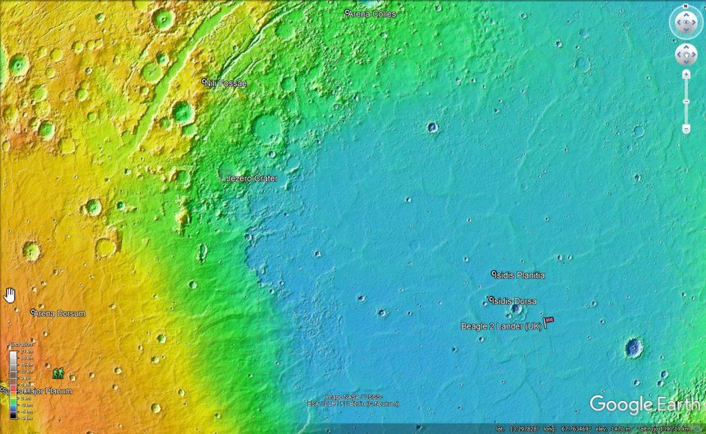 Localización del cráter Jezero en la superficie de Marte, en el borde de la cuenca de Isdis. Imagen de Google Mars.