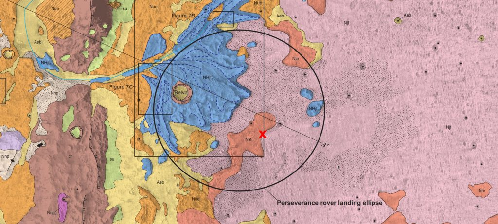 Mapa geológico del cráter Jezero con el lugar de aterrizaje del Perseverance marcado con una cruz roja. USGS.