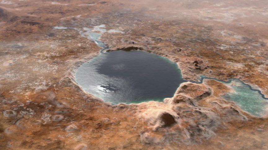 Así podría haber sido el lago del interior del cráter Jezero. NASA/JPL-Caltech.
