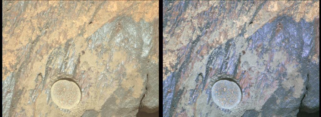 Imagen multiespectral de Rochette donde podemos apreciar mejor la extensión y cobertura del barniz del desierto, especialmente del de color marrón. NASA/JPL-Caltech/ASU